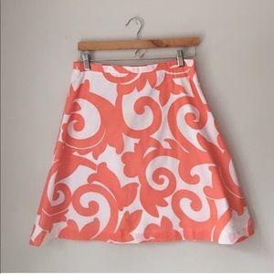 J. Crew Coral Filigree Print A-Line Cotton Skirt